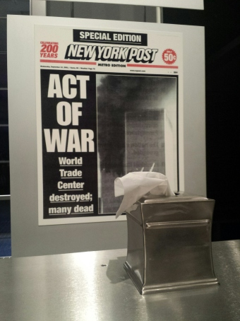 A tissue box provided by the museum in the 9/11 exhibit