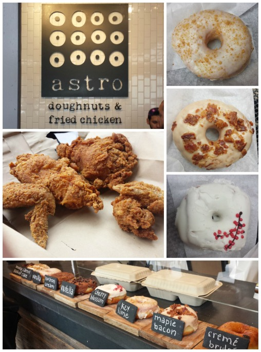 Doughnuts from top to bottom: key lime, maple bacon, cherry blossom | 4 piece white meat fried chicken they were out of dark meat already...)