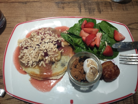 Blueberry pancakes with strawberry puree, berry compote, and slivered almonds; spinach salad with strawberries; a little s'mores jar
