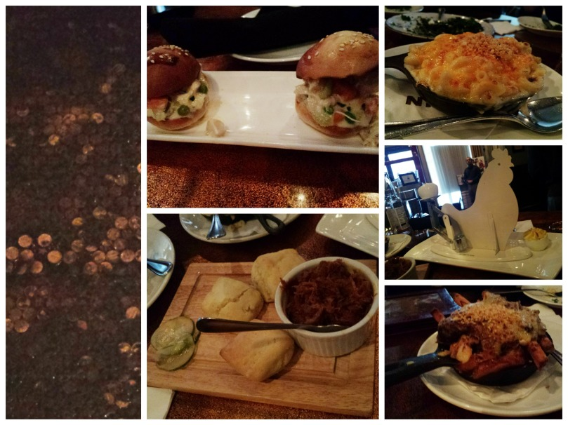 Clockwise from left: pennies on the ground, chicken pot pie sliders, mac and cheese, deviled eggs, short rib poutine, BBQ pork and duck fat biscuits