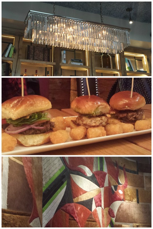 Burger flight included: tavern burger, Italian style burger, Cuban burger; we got em with TOTS