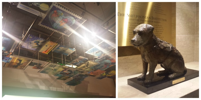 Left: hanging stamp installation | Right: statue of Owney the dog, the official mascot of the USPS