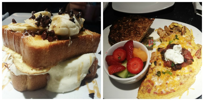 Left: banana stuffed French toast | Right: California omelette