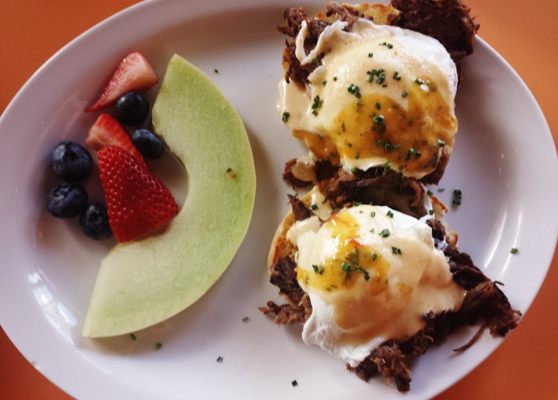 Short rib Benedict + side of fruit