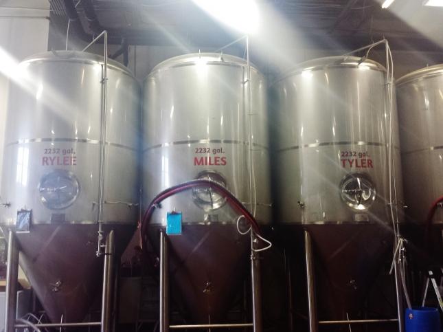 """Brewing tanks named """"Rylee"""", """"Miles"""", """"Tyler"""""""