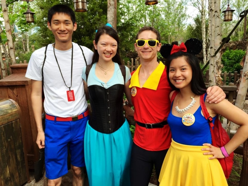 Prince Eric, Ariel, Gaston, and Snow White