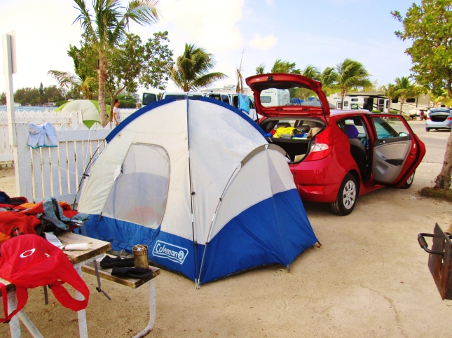 Our tent and our rental hatchback