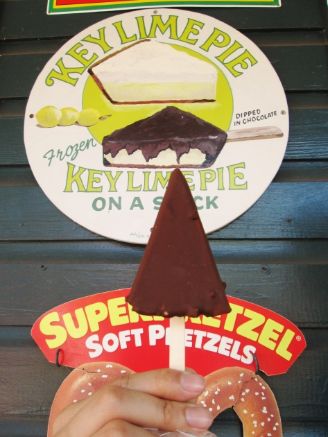 The classic - key lime pie, frozen, put on a stick, dipped in chocolate