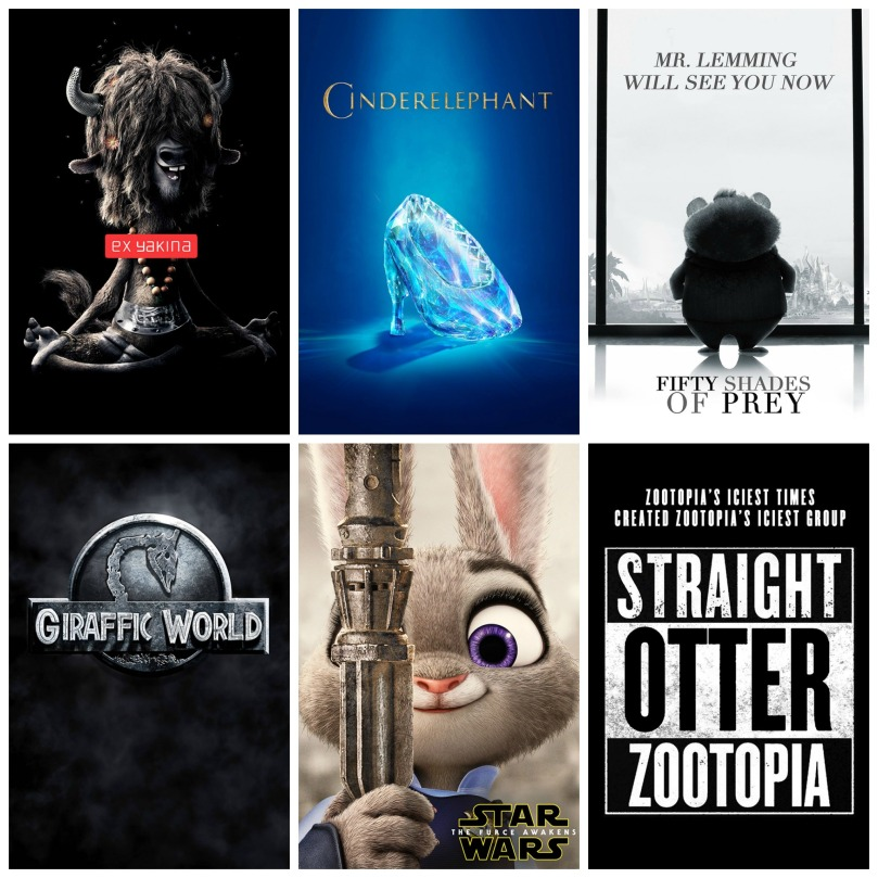 Ex Yakina, Cinderelephant, Fifty Shades of Prey, Giraffic World, Star Wars: The Furce Awakens, and Straight Otter Zootopia
