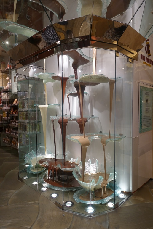 The largest chocolate fountain in the world, from which flows white, milk, and dark chocolate from the ceiling to the floor.