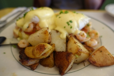 Bay shrimp Benedict... with a focus on the home fries, my least favorite breakfast potato...
