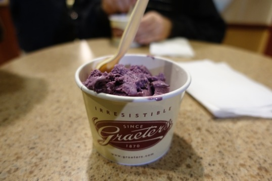 Black raspberry ice cream at Graeter's