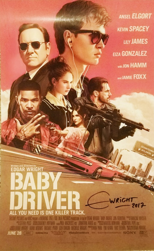 Baby Driver poster, signed by director Edgar Wright